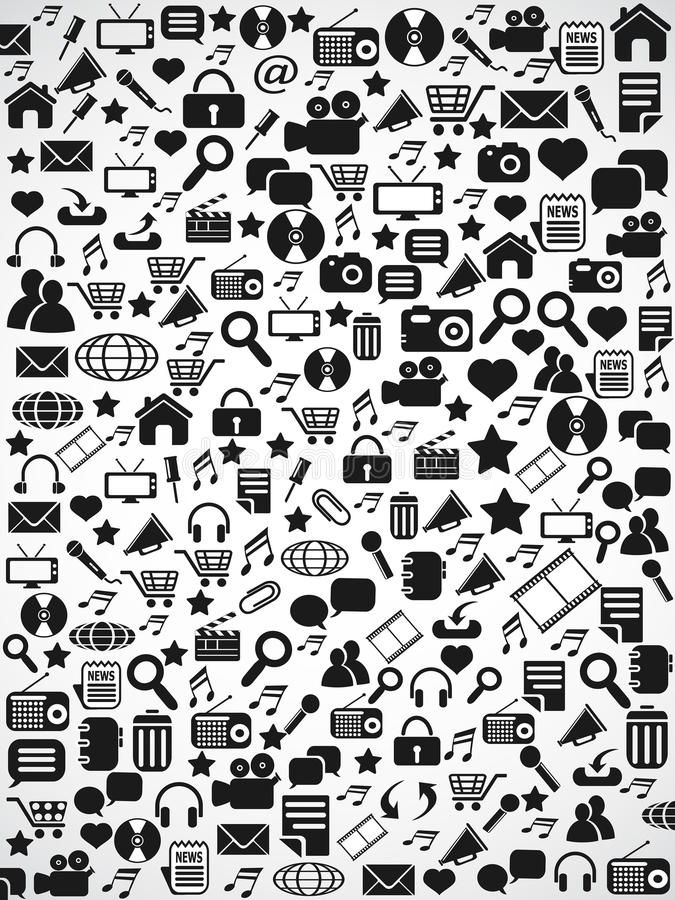 Fondo senza cuciture nero del modello delle icone di web illustrazione vettoriale