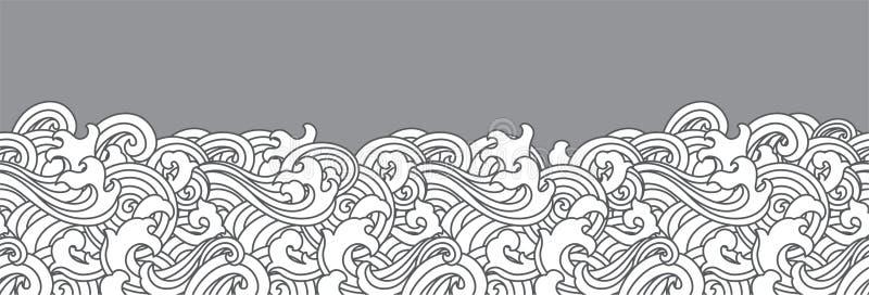 Fondo senza cuciture orientale dell'onda di oceano illustrazione vettoriale