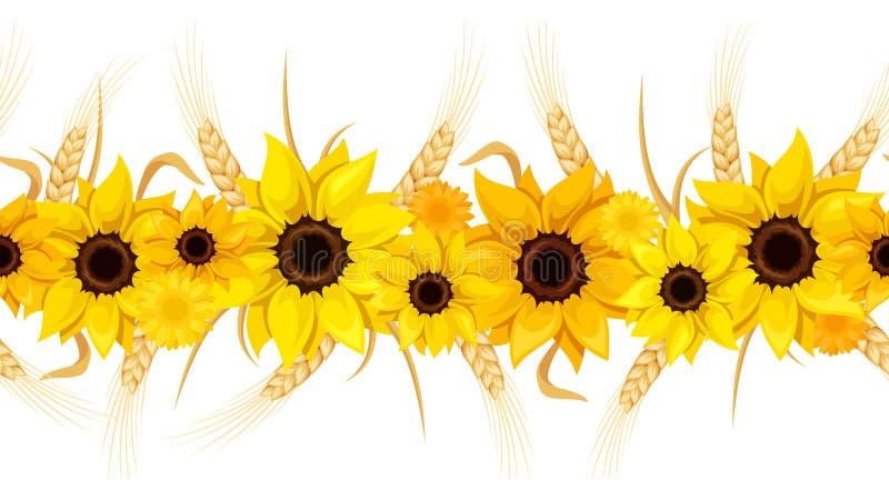 Fondo senza cuciture orizzontale con i girasoli e le orecchie di grano Illustrazione di vettore royalty illustrazione gratis