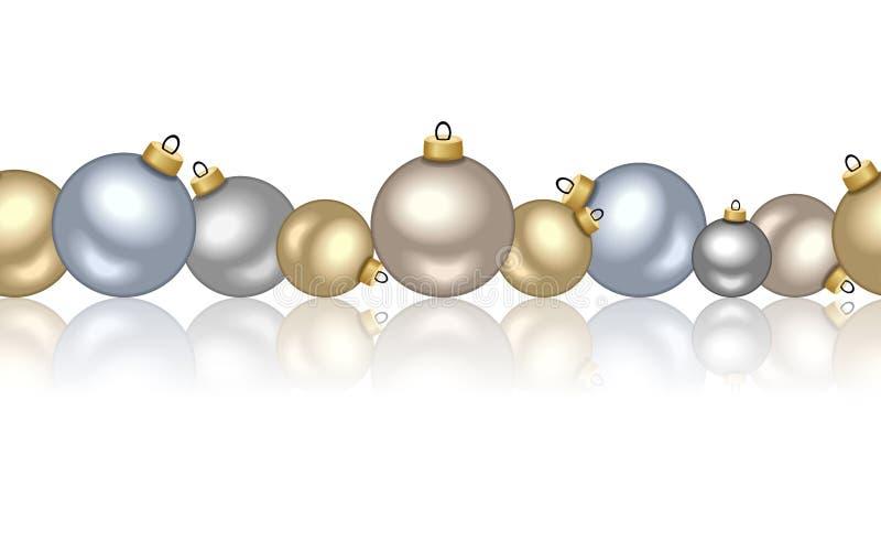 Fondo senza cuciture orizzontale con le palle di Natale. illustrazione di stock