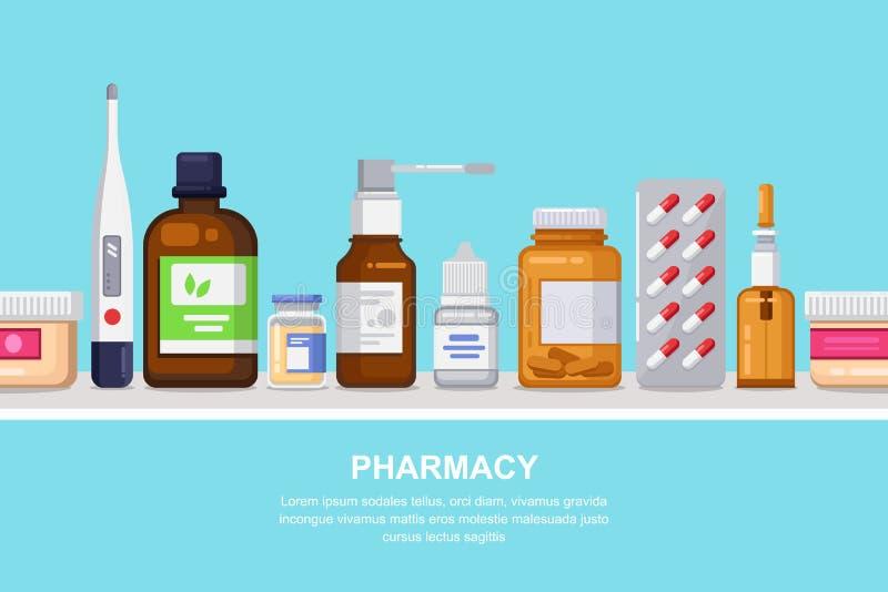 Fondo senza cuciture orizzontale della farmacia, della medicina e di sanità Scaffale con le pillole, droghe, bottiglie royalty illustrazione gratis