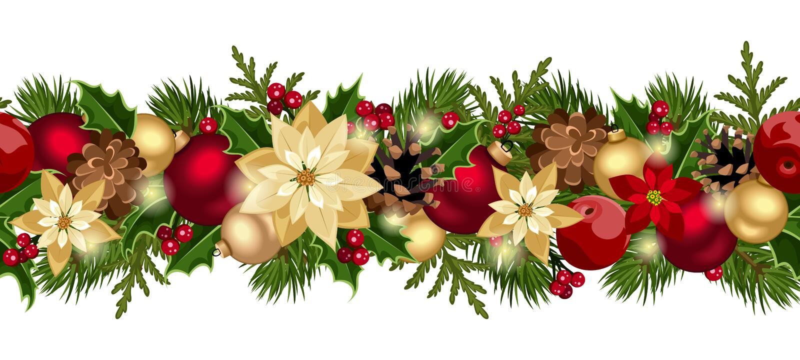Fondo senza cuciture orizzontale di Natale. illustrazione di stock
