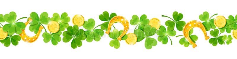 Fondo senza cuciture orizzontale di vettore di giorno del ` s di St Patrick con l'acetosella, le monete ed i ferri di cavallo illustrazione vettoriale