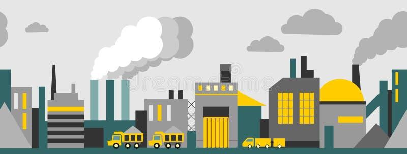Fondo senza cuciture panoramico industriale illustrazione vettoriale