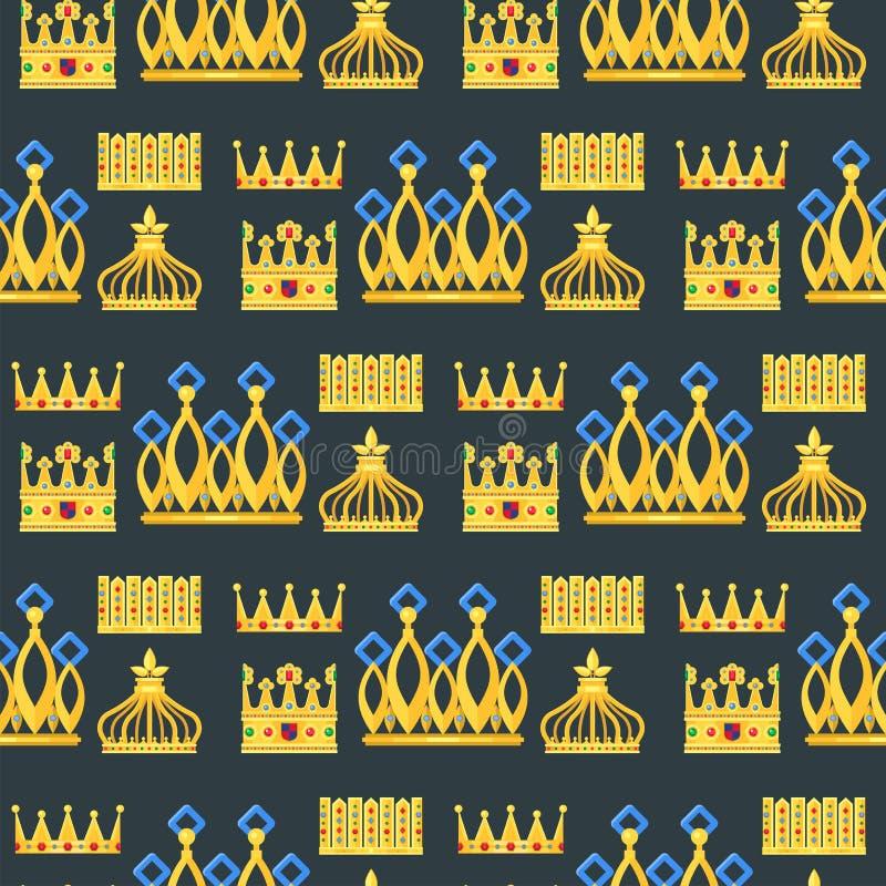 Fondo senza cuciture premio d'annata del modello di re della corona illustrazione vettoriale