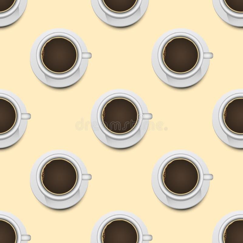 Fondo senza cuciture realistico del modello 3d di vista superiore delle tazze di caffè royalty illustrazione gratis