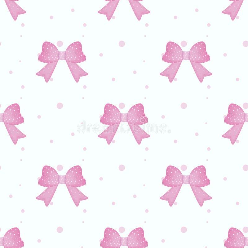 Fondo senza cuciture rosa del modello di griglia dell'arco e del nastro isolato su bianco Illustrazione di vettore illustrazione vettoriale
