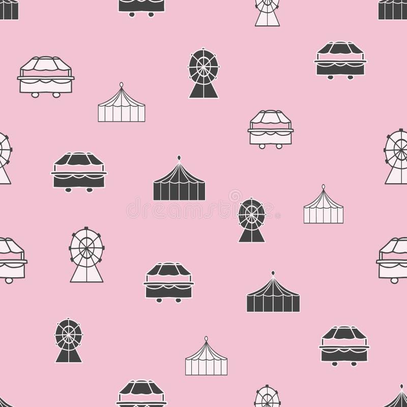 Fondo senza cuciture rosa pastello del modello di ripetizione degli elementi in bianco e nero di carnevale di vettore illustrazione di stock