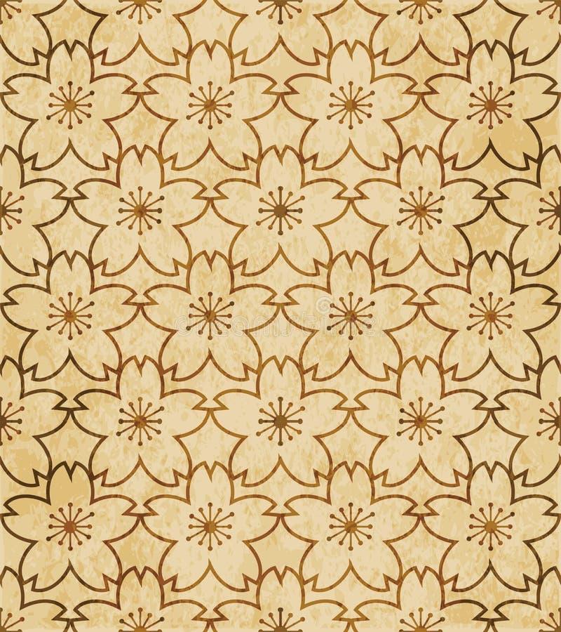 Fondo senza cuciture sakura di retro dell'acquerello lerciume marrone di struttura illustrazione vettoriale