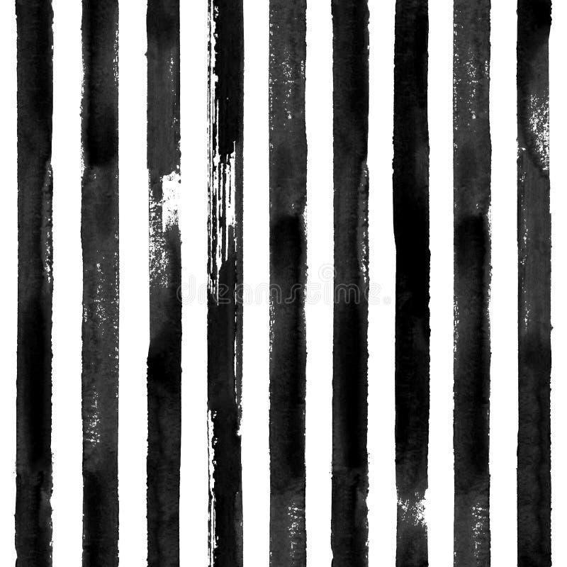 Fondo senza cuciture a strisce di struttura del modello dell'acquerello in bianco e nero royalty illustrazione gratis