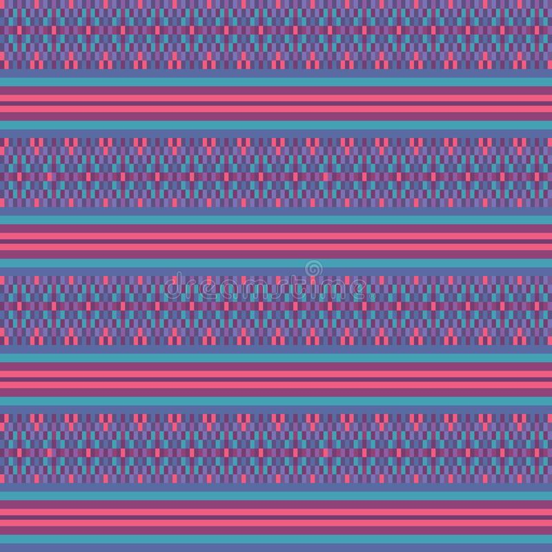 Fondo senza cuciture a strisce geometrico etnico del modello di vettore tessuto turchese rosa variopinto per tessuto, carta da pa illustrazione vettoriale