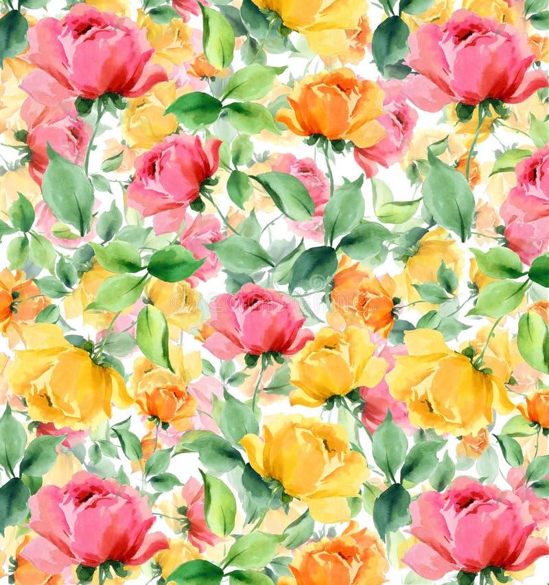 Fondo senza cuciture strutturato della pittura a olio dell'acquerello dei fiori royalty illustrazione gratis