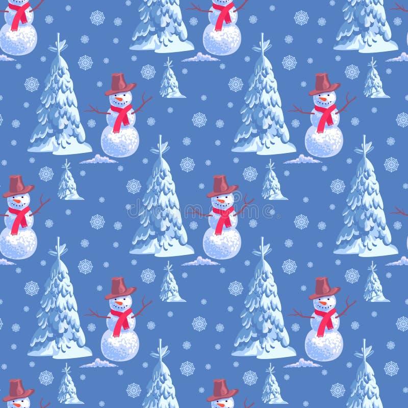 Fondo senza cuciture sul tema del nuovo anno s Molti pupazzi di neve e blu dell'albero di Natale royalty illustrazione gratis