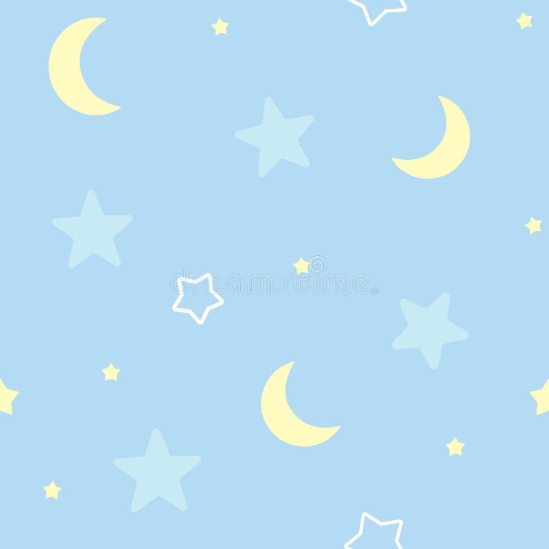 Fondo senza cuciture sveglio del modello con le stelle e la luna Camera da letto del ` s dei bambini, carta da parati decorativa  royalty illustrazione gratis