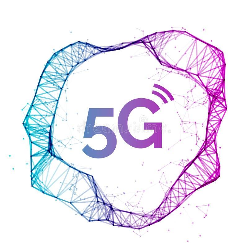 fondo senza fili della rete del collegamento a Internet 5G Concetto della comunicazione dei dati ad alta velocità del telefono ce illustrazione di stock