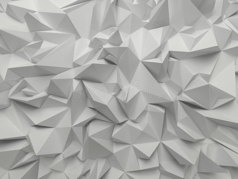 Fondo sfaccettato 3d astratto di bianco illustrazione di stock