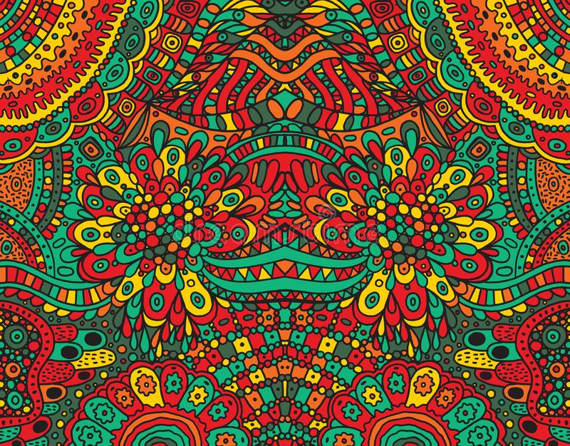 Fondo simétrico enrrollado tribal psicodélico Ornamento fantástico colorido del garabato de la historieta Ilustración del vector ilustración del vector