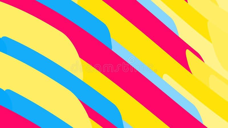Fondo simple de líneas brillantes abstractas multicoloras mágicas minimalistic de ondas de las tiras de formas geométricas Illu d ilustración del vector