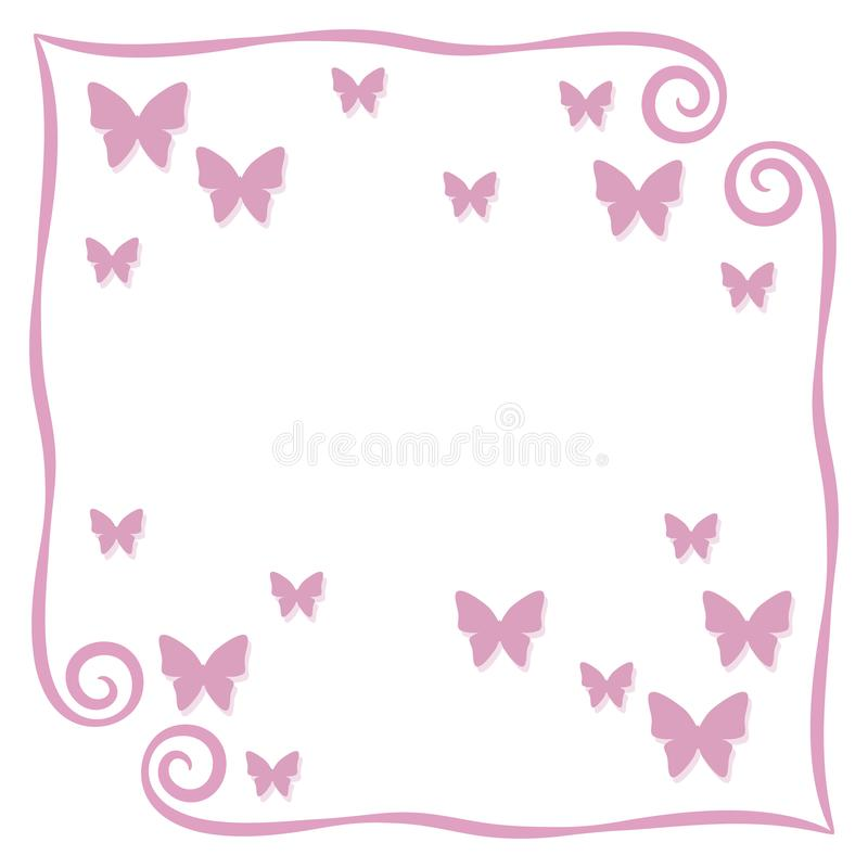 Fondo simple rosado de la página de la postal del ejemplo del vector de los rizos del capítulo con el pequeño esquema de mariposa stock de ilustración