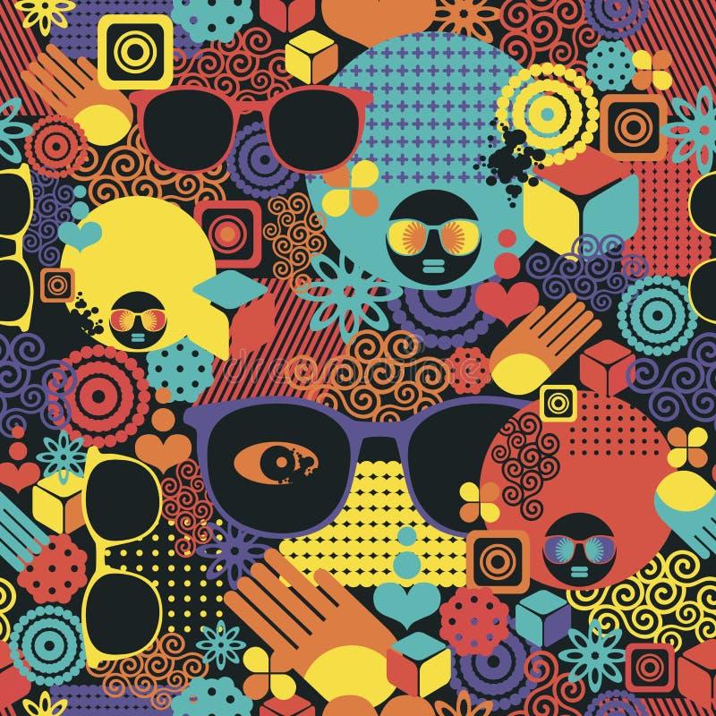 Fondo sin fin del tiempo de verano con la mujer afro ilustración del vector