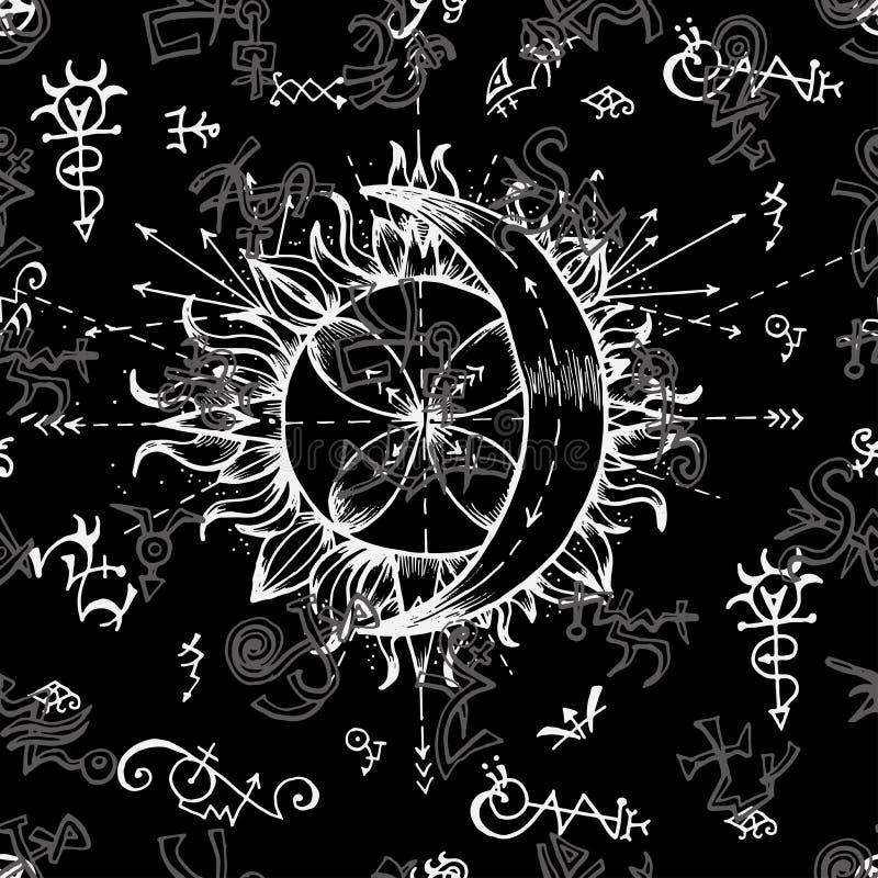 Fondo sin problemas con símbolos de sol y luna, alquimia libre illustration