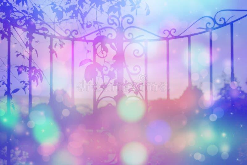 Fondo soñador con hermoso, viejo, stylich, puerta de jardín ilustración del vector