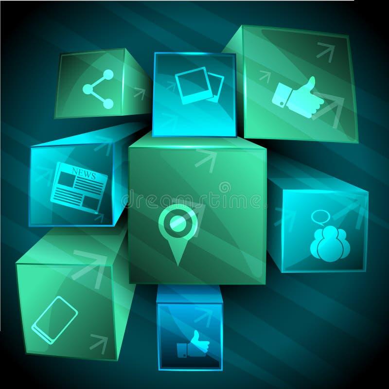 Fondo social abstracto del establecimiento de una red 3d ilustración del vector