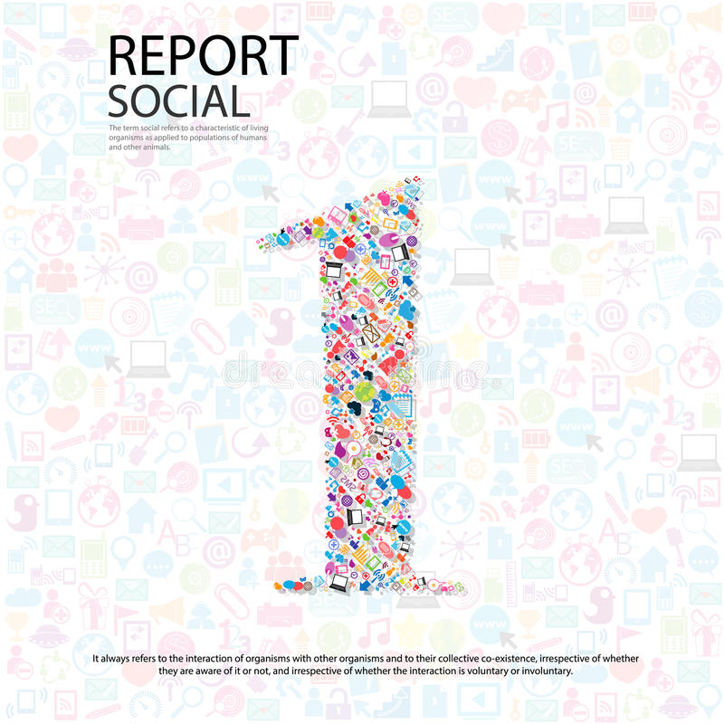 Fondo social del network number con los medios iconos stock de ilustración