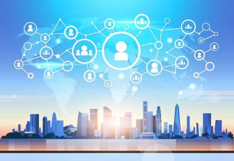 Fondo social del paisaje urbano del concepto de la conexión de red de usuario del mapa del mundo del perfil del interfaz futurist ilustración del vector