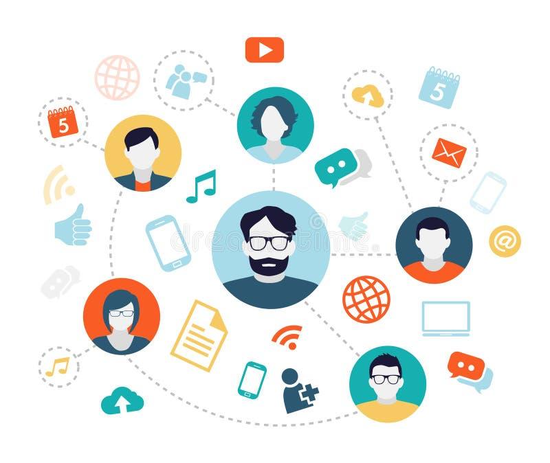 Fondo sociale di media illustrazione vettoriale