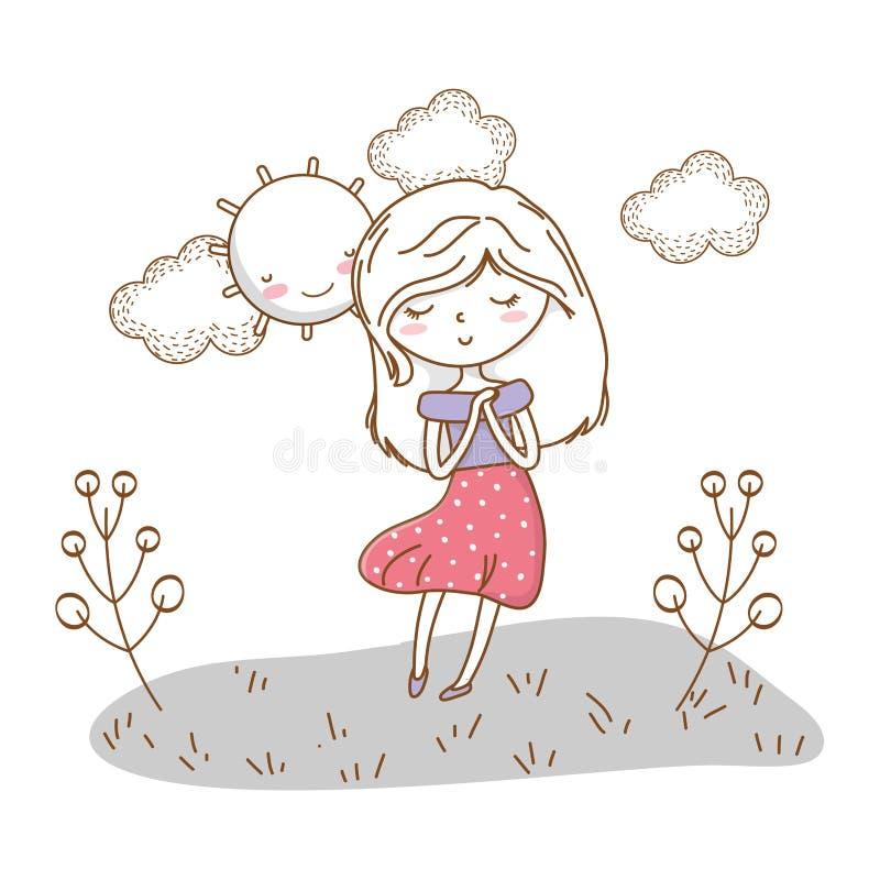 Fondo soleado de la muchacha de la historieta del equipo de la naturaleza elegante linda del vestido libre illustration