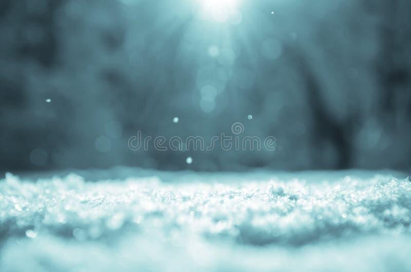 Fondo soleado de la Navidad del invierno con la nieve acumulada por la ventisca en un primero plano y el paisaje borroso del bosq fotografía de archivo