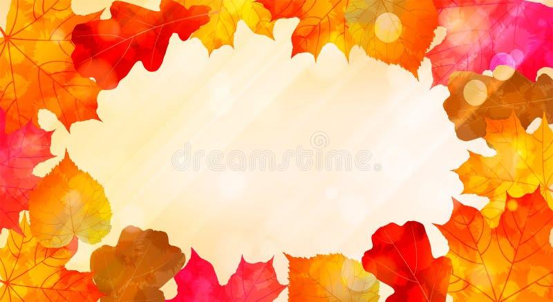 Fondo soleado del otoño con las hojas coloridas de la acuarela libre illustration