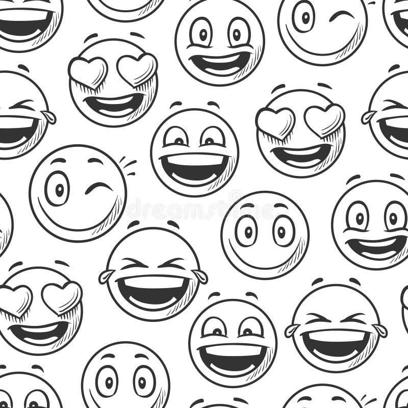 Fondo sonriente positivo de las caras, línea modelo inconsútil del bosquejo de los emoticons del vector ilustración del vector