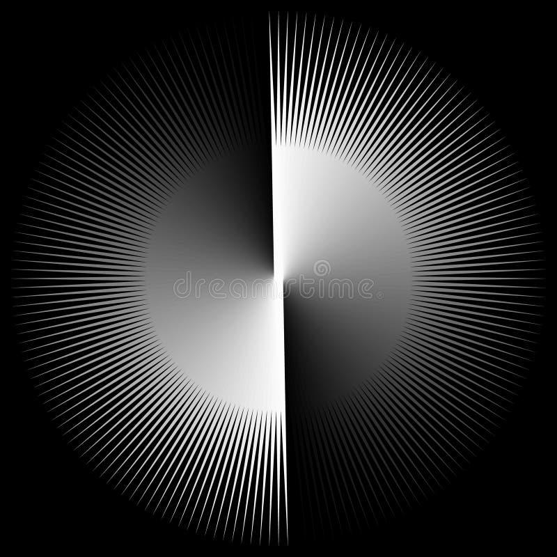 Fondo sotto forma di palla bianca con i raggi torti in una spirale royalty illustrazione gratis