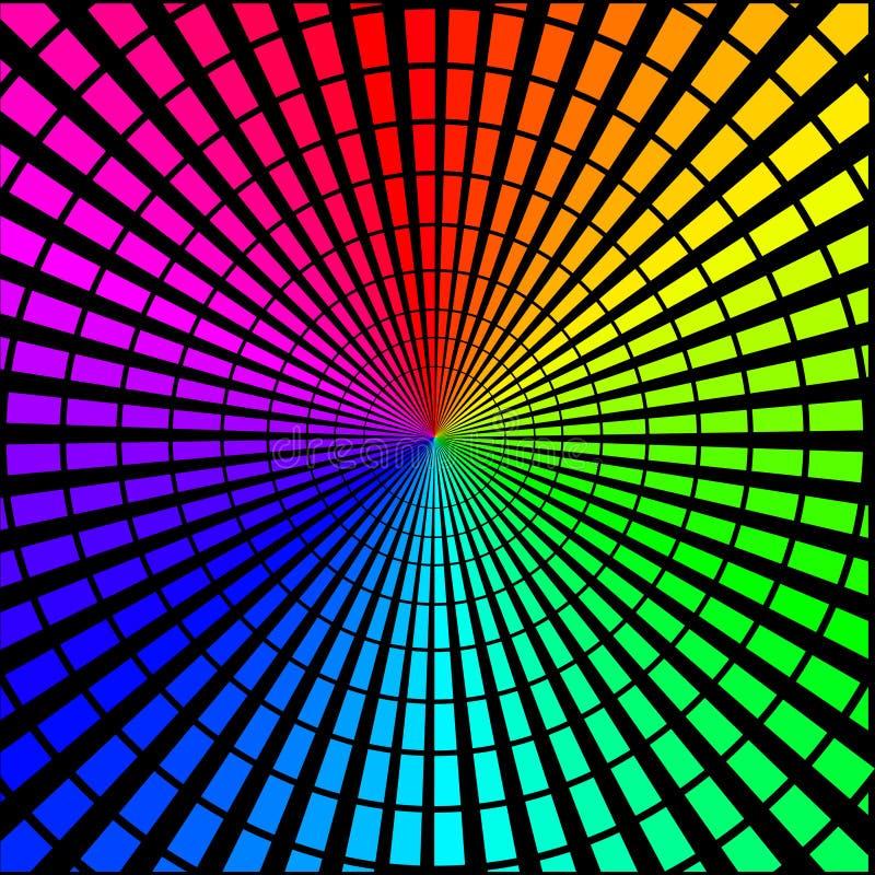 Fondo sotto forma di raggi colorati sul nero illustrazione vettoriale