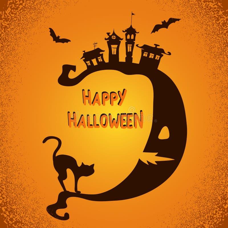 Fondo spaventoso di Halloween con la luna, il gatto nero e le siluette dei pipistrelli illustrazione di stock