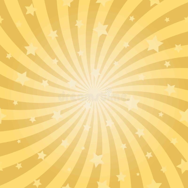 Fondo a spirale astratto di luce solare Fondo giallo di segnale di riferimento dell'oro con le stelle royalty illustrazione gratis