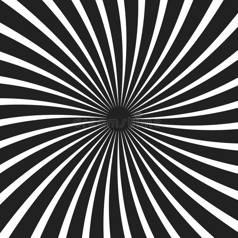 Fondo a spirale in bianco e nero del raggio illustrazione di stock