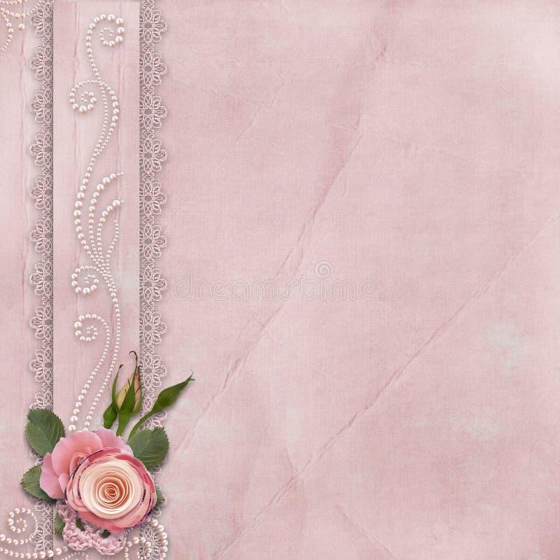 Fondo splendido d'annata con pizzo, rose, perle illustrazione vettoriale