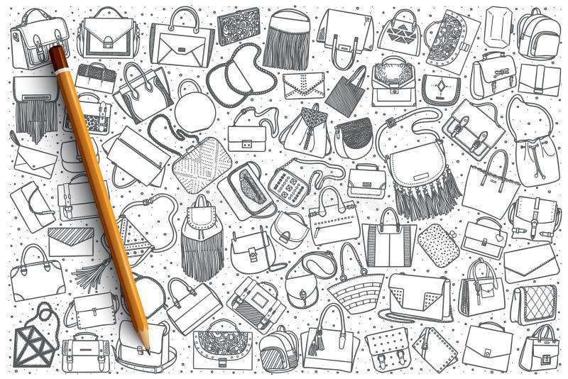 Fondo stabilito della borsa disegnata a mano illustrazione di stock