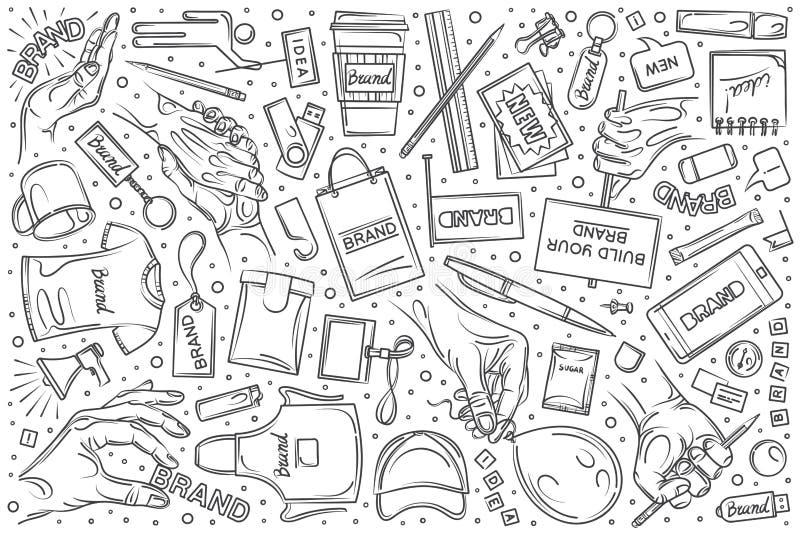 Fondo stabilito marcante a caldo disegnato a mano di vettore di scarabocchio illustrazione vettoriale