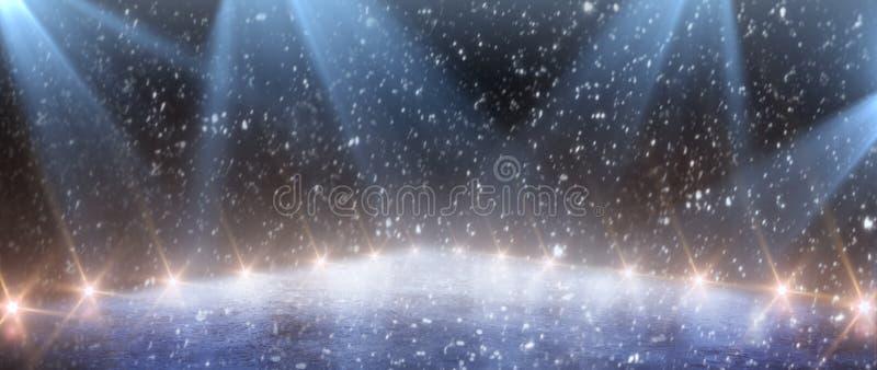 Fondo Stadio vuoto del ghiaccio con le luci immagine stock
