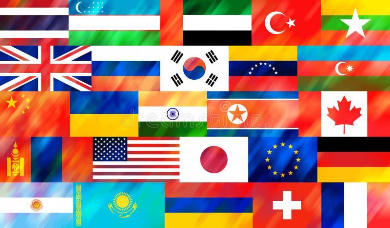 Fondo stilizzato e variopinto delle bandiere nazionali dei paesi differenti del mondo illustrazione vettoriale