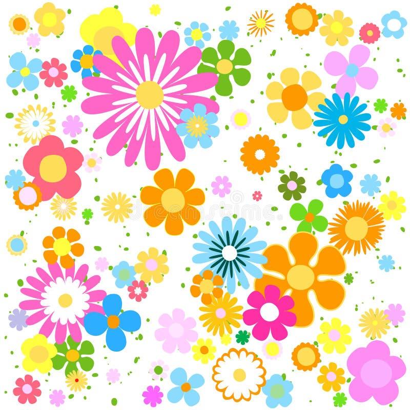 Fondo stilizzato vibrante variopinto dei fiori illustrazione vettoriale