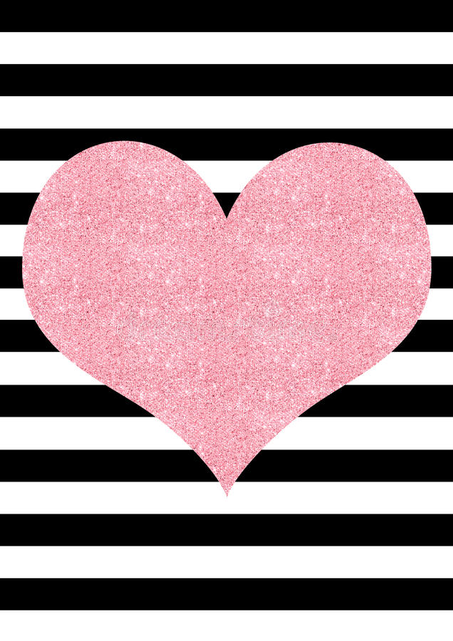 Fondo a strisce in bianco e nero di scintillio del cuore rosa di effetto royalty illustrazione gratis