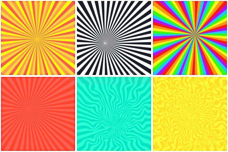 Fondo a strisce di colore astratto per la bolla comica illustrazione di stock