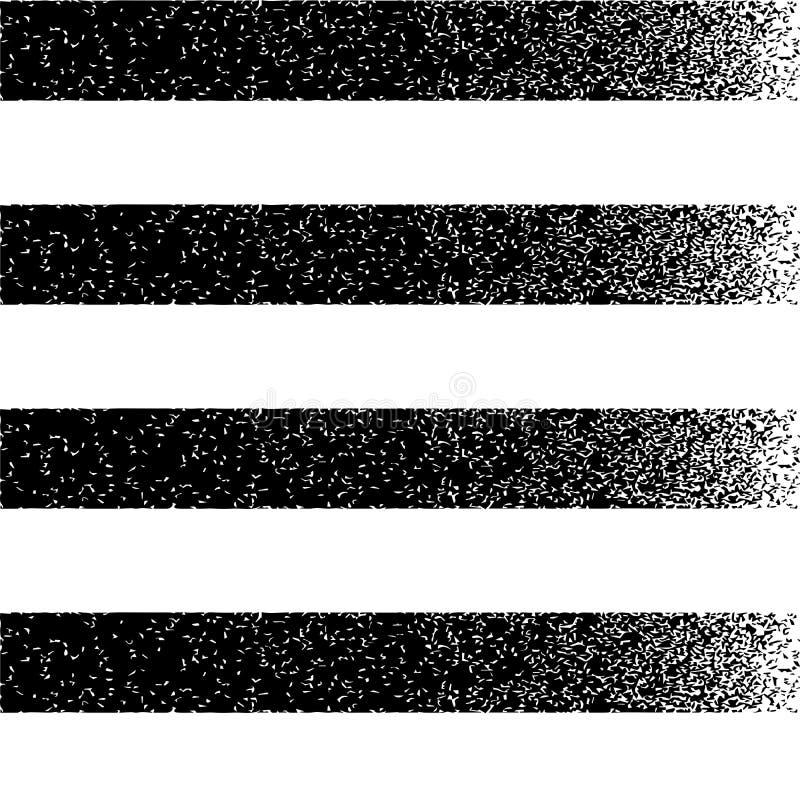 Fondo a strisce orizzontale di struttura nera di lerciume illustrazione di stock