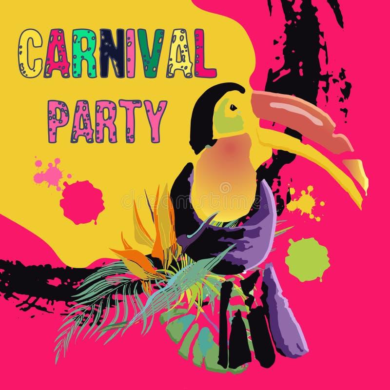 Fondo, struttura di lerciume e tucano tropicali multicolori disegnati a mano per il manifesto di carnevale del Brasile, cartolina illustrazione vettoriale