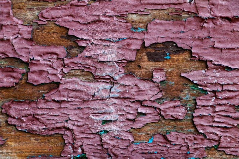 Fondo, struttura di vecchio strato di legno con la pelatura della pittura fotografia stock